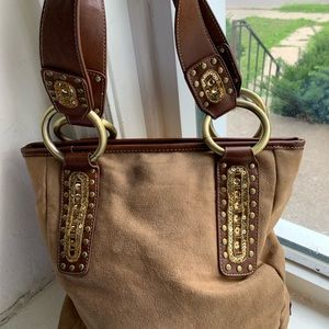 Franco Sarto Brown faux suede purse 13X11